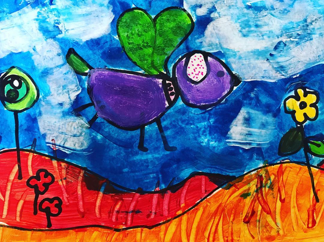 A kid's painting of a flying puppy by Les Petits Painters | LesPetitsPainters.com.au