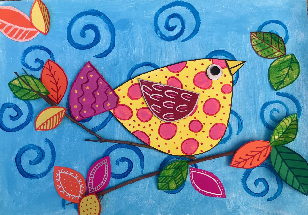 Les Petits Painters art and craft classes for children, bird on a tree, line and pattern, children's activities, art classes, kids classes, painting classes