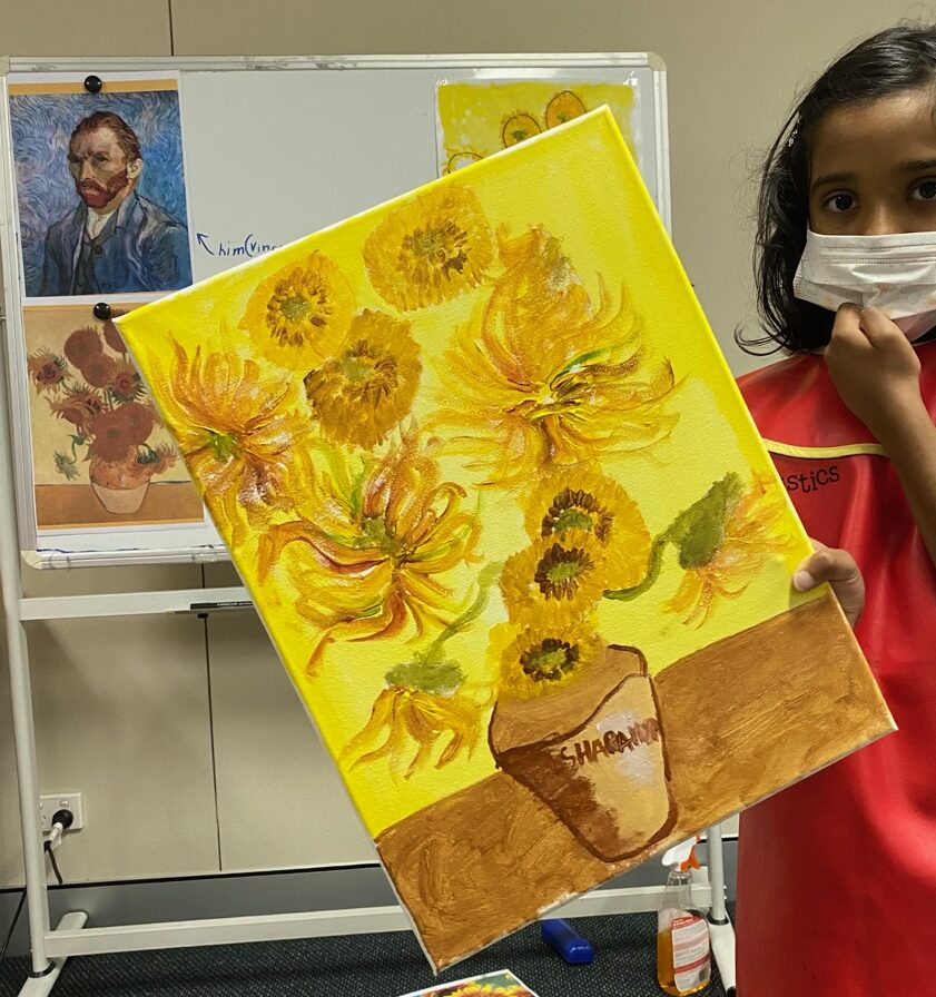 Very Important Series of Les Petits Painter featuring an artist every term, Vincent van Gogh art classes for kids, van Gogh Sunflowers painting by 7 year old kid