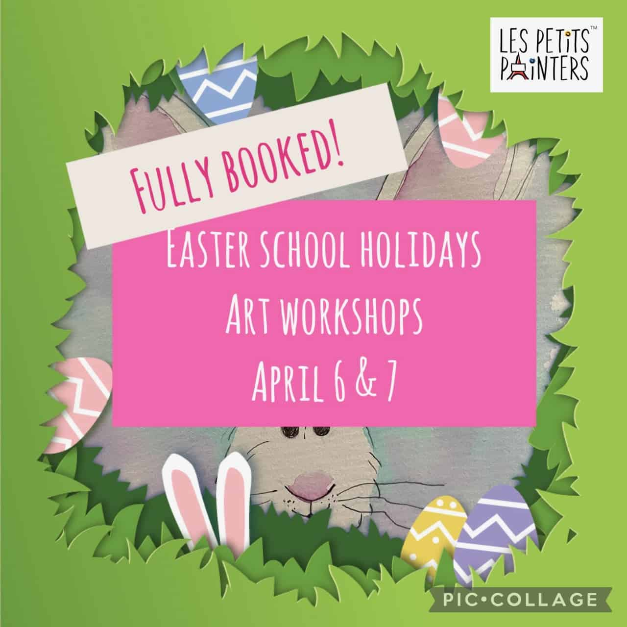 Easter school holiday art activities for kids, arts and crafts classes by Les Petits Painters, Easter school vacation workshop