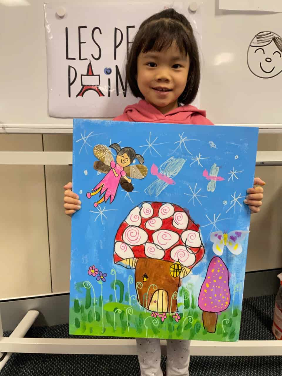 Les Petits Painters art classes for preschoolers, kids art activities, fairy and toadstool home painting