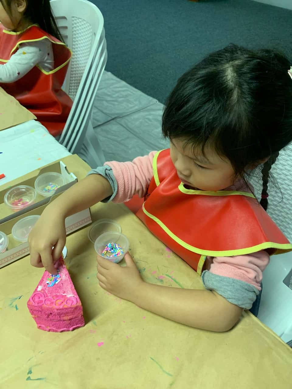 Art classes for kids, pretend food art pieces, Mother's Day cake slice painted and decorated by 4 year old