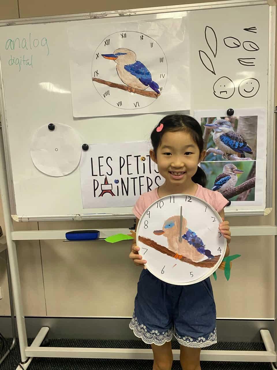 Les Petits Painters art activities for children, art classes during school holidays, Kookaburra clock painted by kids