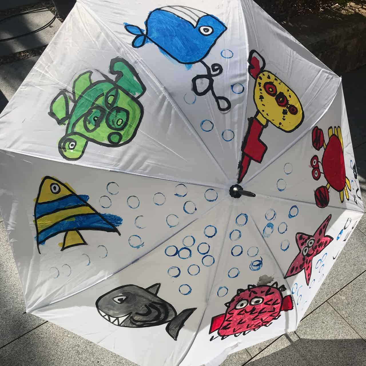 Les Petits Painters preschool arts and crafts, art school for children, nylon umbrella painting with nylon paint from Japan, submarine and marine life drawing and painting, 3-5 year old projects