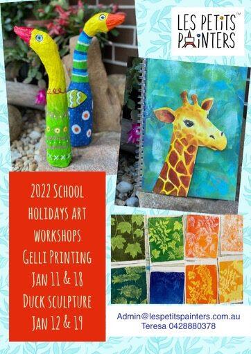 School holidays art workshops for kids, Kids activities, Les Petits Painters art camp for children, gelli printing, animal sculpture